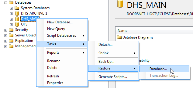 DB Right-click and Restore